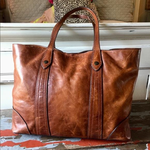 a44347a31721 Frye Handbags - Frye Cognac Leather Melissa Shopper Tote Purse EUC